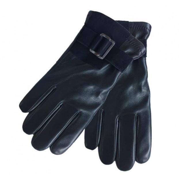 gant cuir double passant métal sur insert suédé velcro Noir