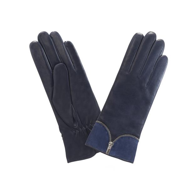gant cuir zip ouvert en decors Indigo