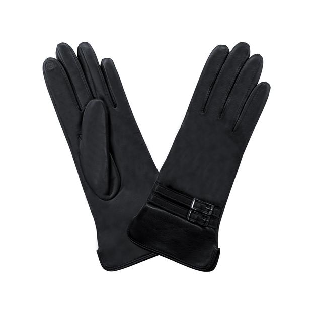 gant cuir agneau double ouverture côté - double passant Noir