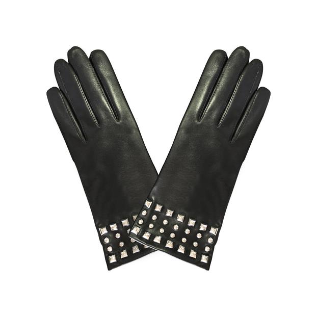 gant cuir pavage stud et pyramides Noir