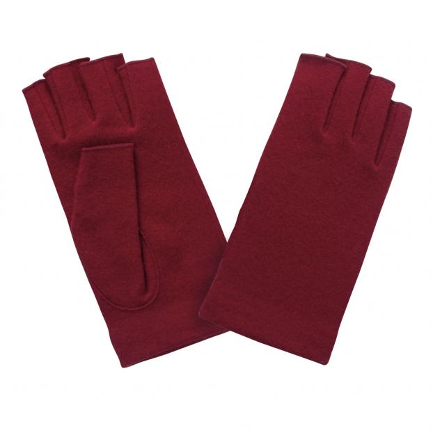 gant mitaine laine Rouge