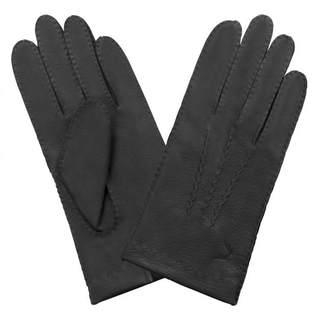 gant cuir cerf, 3 baguettes sur le dessus non doublé Noir