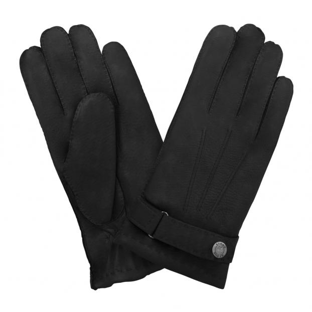 gant cuir cerf - 3 baguettes dessus -patte de serrage doublé cachemire Noir
